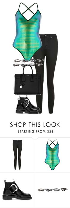 """""""Untitled #2927"""" by officialnat on Polyvore featuring Topshop, River Island, Maison Margiela and Yves Saint Laurent"""