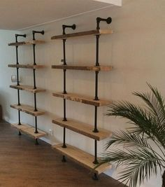 20 Industrial Pipe Closet Designs You Can Make Yourself Industrial Interior Design, Industrial House, Industrial Interiors, Interior Design Living Room, Industrial Pipe Shelves, Interior Livingroom, Kitchen Interior, Pipe Closet, Basement Closet