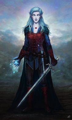 Moon Elf Battlemage Girl by Aerenwyn.deviantart.com on @DeviantArt