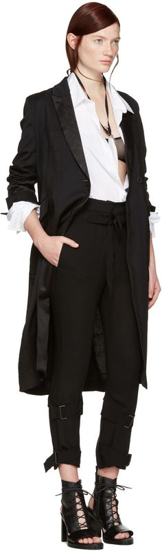 Ann Demeulemeester - Black Stripe Coat