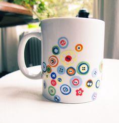 painted ceramics - Google Search Leuk idee voor potje met knopen