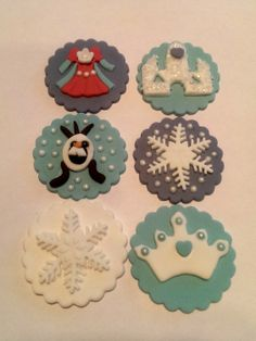 Handmade 'Frozen' themed Fondant Cupcake Toppers Set of 12 (one dozen) 2 of each pattern.