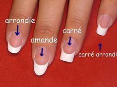 les differentes formes d'ongles - pose d'ongle gel résine, manucure, french manucure, faux ongles