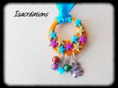 collier fillette étoiles multicolores sur ruban bleu : Bijoux enfants par isacreations