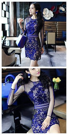 Women's lace blue dress, add a little bit of look through to make your look sexy.