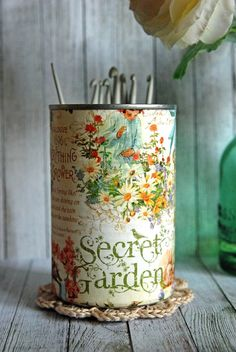 Vintage Shabby Chic Style Secret Garden Tin Desk Organizer with your choice of Doily & Tiny Tin