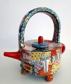 Sergey Gerasimenko - handgeschilderde keramische theepot