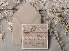 Special Price -Grey Recycling Paper, Ecru Lace  Wedding Invitation, Pocket Fold Rustic  Invitation , Shabby Chic Wedding invitation,