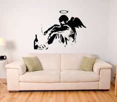 ANGEL GIRL BANKSY Sticker Wall Art Mural Giant Large Decal Vinyl Size 445in 113cm W X 335in 85cm H  Medium -- Click on the image for additional details. (Note:Amazon affiliate link)