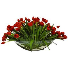 """One Kings Lane 26"""" Tulips in Bowl - Faux Arrangements (€845) ❤ liked on Polyvore featuring home, home decor, floral decor, flowers, plants, tubes, red, decorative accessories, artificial flower stems and artificial flower centerpieces"""