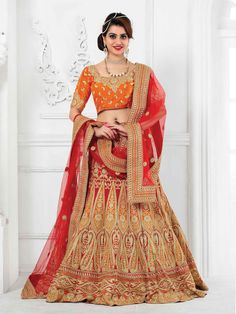 Mruga Red Georgette Embroidered Lehenga  #Mruga, #Red, #Georgette
