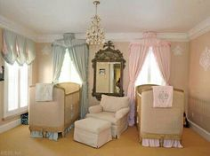 Such a sweet nursery great idea for twins. Shows that you can have an elegant room for your bundles of joy. Baby Cribs For Twins, Twin Baby Rooms, Boy Girl Twins, Nursery Twins, Twin Babies, Nursery Room, Nursery Layout, Nursery Design, Nursery Themes