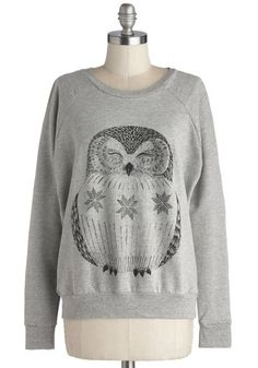 Bird of Wisdom Sweatshirt - Jersey, Knit, Mid-length, Grey, Black, Print with Animals, Casual, Owls, Sweatshirt, Long Sleeve, Better, Scoop,...