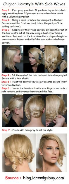 Chignon Hairstyle With Side Waves | PinTutorials