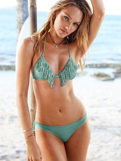 A must on every boho girl's packing list? The Fringe Teeny Triangle Top | Victoria's Secret Swim