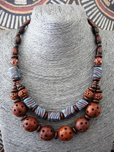 Ethnic Beaded Necklace Tribal Bib African Glass Bead by ElPourElle