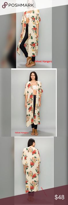 "Taupe Rose HAWAIIAN FLOWER CARDIGAN ONE SIZE MEASUREMENT CHEST-52"" LENGTH-47"" one Size Tops"