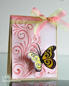 Butterfly Flourish card by Stephanie Lee using Cling Jumbo Butterfly Pair set