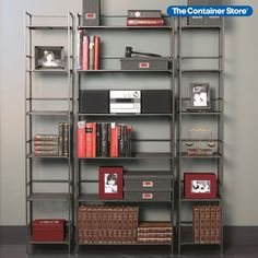 Handsome freestanding shelving solutions for your office, den, bathroom, or kitchen. (Shown: 6-Shelf Iron Folding Bookshelf and Towers)