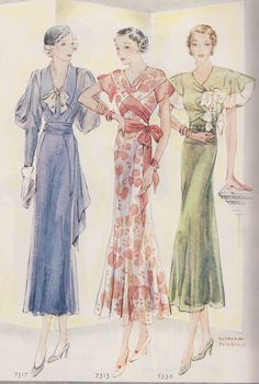 Summer 1933. Color and Black and White Drawings of Fashion Plates and Sewing Pattern Styles. | eBay!