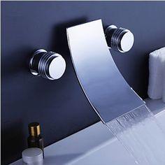 84.05$  Buy now - http://alixab.worldwells.pw/go.php?t=1688753746 - Freeshipping BAKALA Luxury modern  banheiro Brass Chromed  3 holes faucet waterfall faucet LT-303-2 84.05$