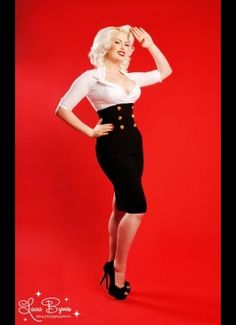 Military Secretary Dress in White and Black by Pinup Couture