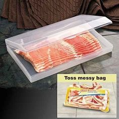 You totally need this bacon saver. | 27 Brilliant Hacks To Keep Your Fridge Clean And Organized
