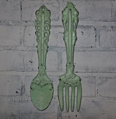Shabby Chic kitchen Wall Decor / Fork and Spoon / Sage Green. $24.99, via Etsy.