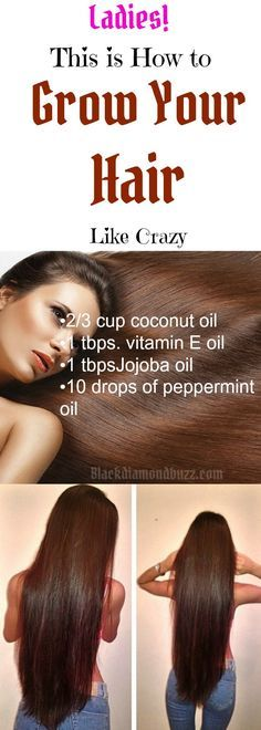 Hair Growth Tips: How to Grow Your Hair Like Crazy with Coconut Oil Hair Growth Recipes • 2/3 cup coconut oil • 1 tablespoon vitamin E oil • 1 tablespoon Jojoba oil • 10 drops of your favorite essential oil – Peppermint oil