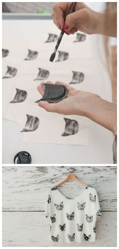 DIY Handmade Stamp Cat Shirt