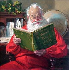 Image result for santa reading a book