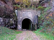WV-Summers County-Big Bend Tunnel--ballad scene of John Henry (steel driven man) vs. steam drill, still in use