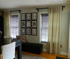 Make Your Own Wooden Ball Curtain Rod Set with Brackets - DIY Drapery Hardware - bystephanielynn Ikea Curtains, Hanging Curtains, Panel Curtains, Bay Window Curtain Rod, Diy Curtain Rods, Living Room Decor, Bedroom Decor, Master Bedroom, Under The Table