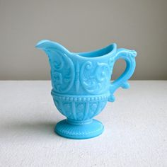 Hey, I found this really awesome Etsy listing at https://www.etsy.com/listing/205576162/turquoise-blue-milk-glass-creamer
