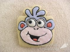 "Boots the monkey from Dora the Explorer (made using ""present"" cutter)     http://lilaloa.blogspot.com/2012/03/cookie-contest-with-big-fun-prizes.html"