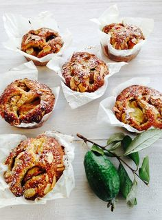 Feijoa, Ginger and Cashew Nut Cakes - This easy, moist cake batter works with just about any fruit if feijoas aren't available. Use stone fruit, cherries, persimmons or frozen berries. Fejoa Recipes, Guava Recipes, Fruit Recipes, Baking Recipes, Simple Recipes, Recipies, Feijoada Recipe, Stone Fruit, Moist Cakes