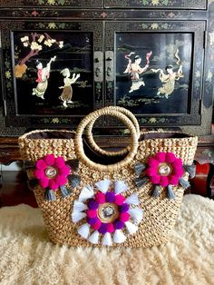 Sicilian Handwoven Straw BasketStraw BagBasket BagStraw Beach Basket, Pochette Diy, Boho Bags, Jute Bags, Sisal, Bead Art, Fashion Handbags, Crochet Bags, Straw Bag