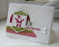 "Stampin' Up! Stampin' Supplies; Stamps: Tag It, Oh, Goodie!; Paper: Cherry Cobbler, Whisper White; Ink: Old Olive, Cherry Cobbler; Accessories: White baker's twine, Silver Designer button, Season of Style washi tape, 2-1/2"" Circle punch, Color Spritzer Tool, Stylish Stripes EF, Chalk Talk framelits, Big Shot, Dimensionals."