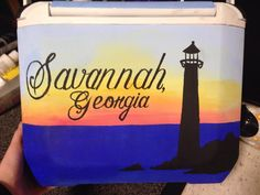 Painted cooler, Savannah lighthouse, pretty sunset