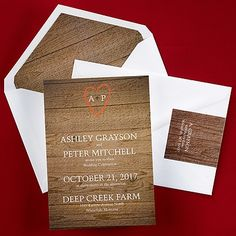 Perfect For Announcing Your Rustic Wedding Is This Invitation By Carlson Craft With Its Charming Wood Design
