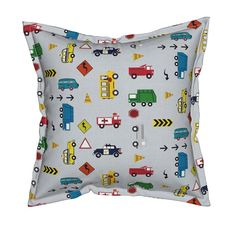 Serama Throw Pillow featuring cars & trucks  multi-metro gray linen by drapestudio | Roostery Home Decor