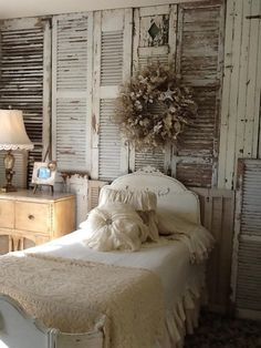 Shabby Chic Painted Distressed Vintage Shutter Headboard #diy
