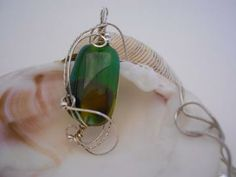 Sterling Silver Wire Wrapped Green and Brown Fused Glass Necklace by AstralJewelry for $49.50