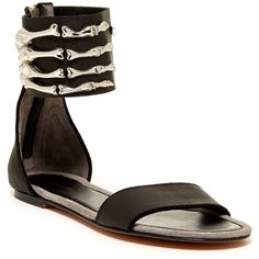 Mara & Mine Montana Skull Hand Sandal ($195) ❤ liked on Polyvore featuring shoes, sandals, ankle tie sandals, ankle strap sandals, ankle strap shoes, ankle wrap sandals and open toe sandals