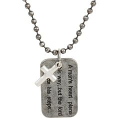 Heirloom Finds Man's Heart Proverbs 16:9 Dog Tag Christian Necklace Ball Chain Oxidized Silver Tone