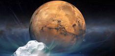 cometa Siding Spring (C/2013 A1) hacia Marte. Crédito de la imagen: NASA