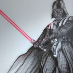 Airbrushed on the wall in child room ~180cm high #theartofmonkey  #Art #airbrushing #vader #starwars