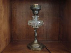 Antique Molded Glass and Brass Boudoir Lamp with Pull Chain, Weighted Bottom