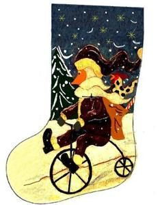 Santa's Midnight Ride Christmas stocking ~ John Blake Folk Artist