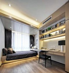 Comfy Minimalist Bedroom Decor Ideas Small Rooms - Page 8 of 60 Bedroom Lamps Design, Decoration Bedroom, Small Bedroom Designs, Modern Bedroom Design, Home Office Design, Home Decor Bedroom, Modern Interior Design, Bedroom Ideas, Stylish Bedroom